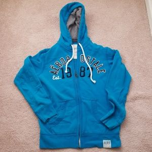 Men's Small Vibrant Blue Zip Up Hoodie